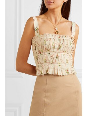 BROCK COLLECTION frayed ruched floral-print cotton-gauze bustier top