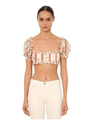 BROCK COLLECTION Printed silk satin crop top