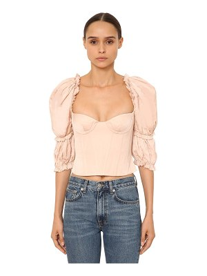 BROCK COLLECTION Ruffled cotton poplin bustier top