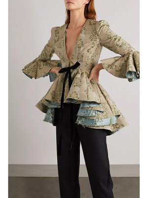 BROCK COLLECTION ruffled velvet-trimmed floral brocade peplum jacket