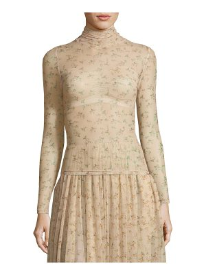 BROCK COLLECTION Tracey Turtleneck Sheer Floral-Print Top