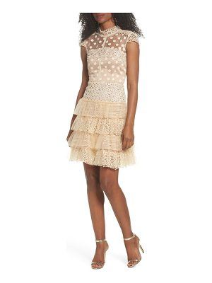 BRONX AND BANCO Isabella Tiered Crochet Fit & Flare Dress