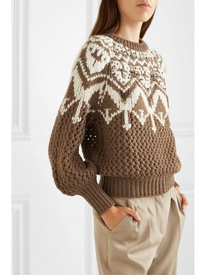 Brunello Cucinelli bead-embellished fair isle cashmere sweater
