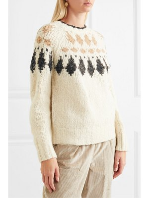Brunello Cucinelli bead-embellished intarsia alpaca-blend sweater