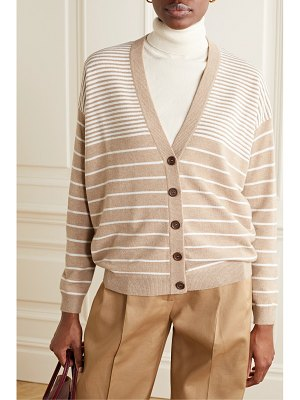 Brunello Cucinelli bead-embellished striped wool-blend cardigan