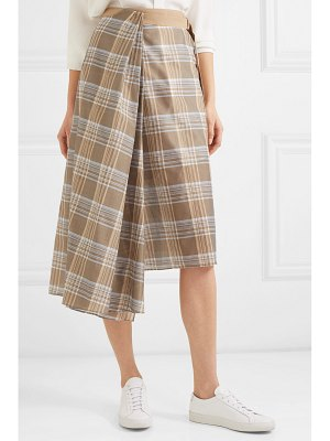 Brunello Cucinelli belted checked cotton and silk-blend voile wrap skirt
