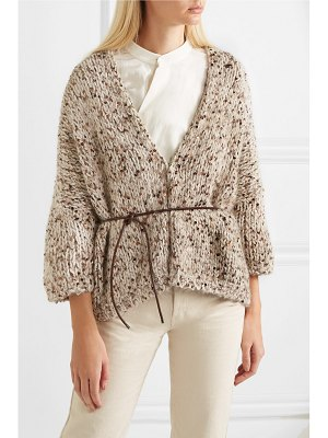 Brunello Cucinelli belted sequined chunky-knit cardigan