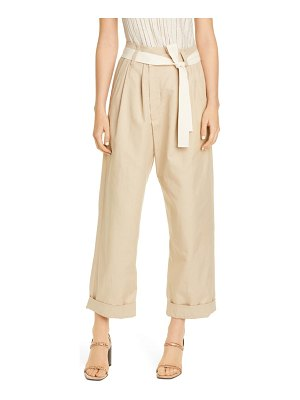 Brunello Cucinelli belted tapered cotton & linen pants