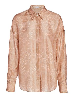 Brunello Cucinelli blush floral silk blouse