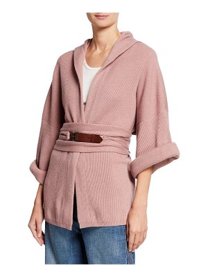 Brunello Cucinelli Cashmere Ribbed-Knit Hooded Cardigan