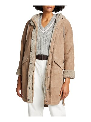 Brunello Cucinelli Curly Shearling Hooded Coat