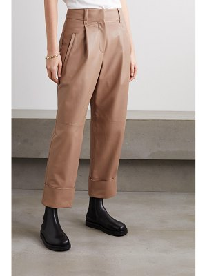 Brunello Cucinelli leather straight-leg pants