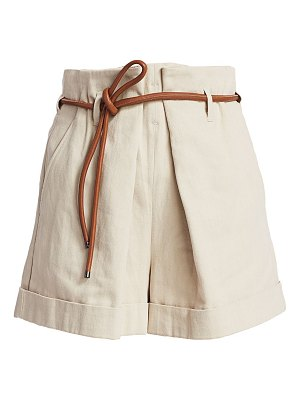 Brunello Cucinelli linen-blend leather belted shorts