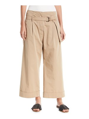BRUNELLO CUCINELLI Mid-Rise D-Ring Belt Wide-Leg Cotton Ankle Pants