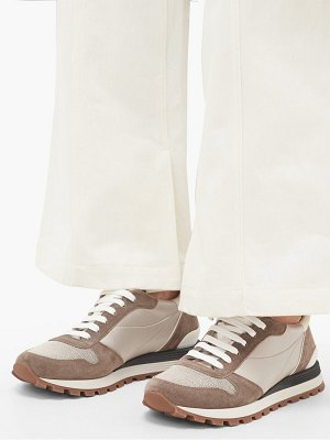 Brunello Cucinelli monili-chain suede and satin trainers