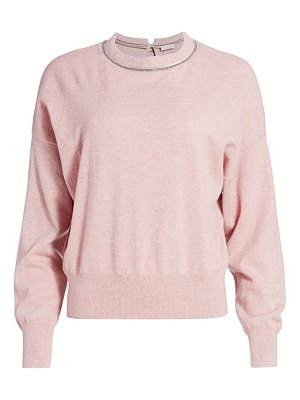 Brunello Cucinelli monili-trim cashmere knit crewneck sweater