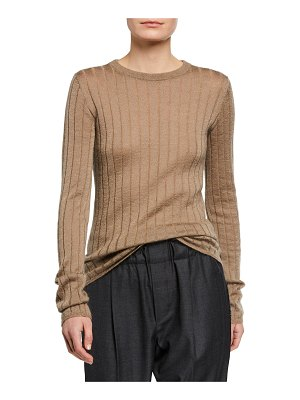 Brunello Cucinelli Shimmer Wool Ribbed Sweater