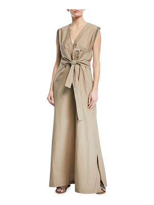 Brunello Cucinelli Sleeveless Wrap-Front Voile Maxi Dress