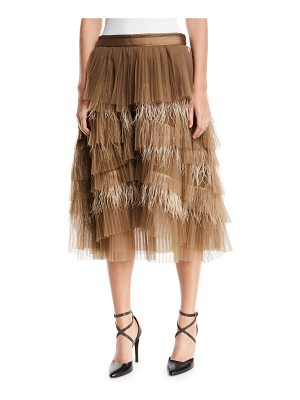 BRUNELLO CUCINELLI Tiered Tulle Feathered Midi Skirt