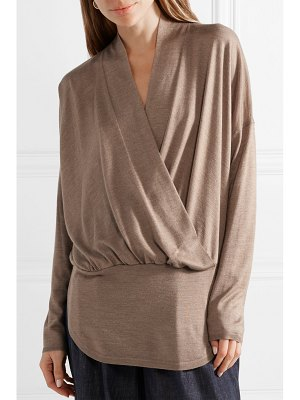 Brunello Cucinelli wrap-effect mélange cashmere and silk-blend sweater