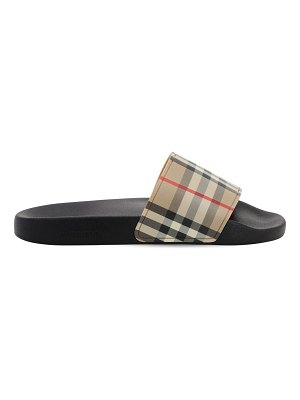 Burberry 10mm furley check ruber slide sandals