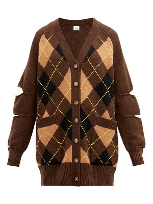 Burberry agnese cutout argyle-check wool-blend cardigan
