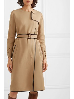 Burberry belted leather-trimmed cady midi dress