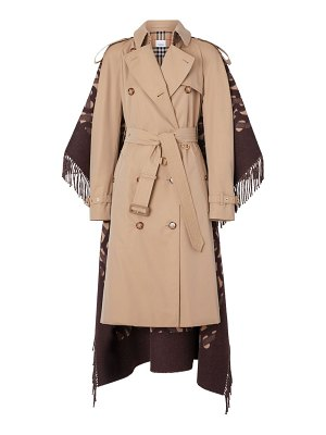 Burberry blanket fringe back trench coat