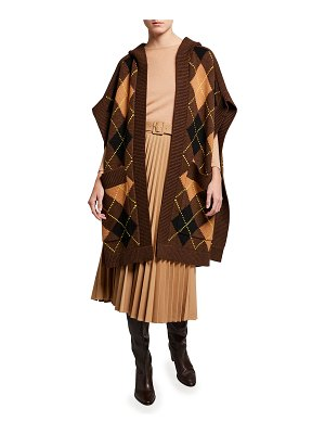 Burberry Carla Argyle Intarsia-Knit Hooded Cape