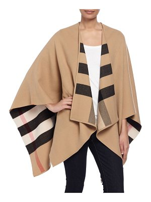 Burberry Charlotte Check-To-Solid Wool Cape