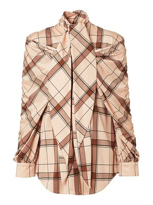 Burberry check drape tieneck blouse
