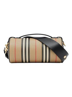 Burberry check & leather barrel bag