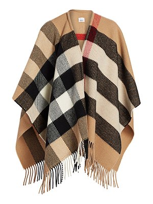 Burberry check long mega cape
