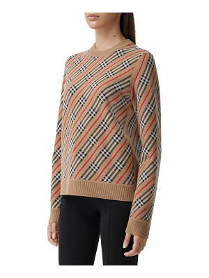 Burberry Clara Wool-Blend Striped Vintage Check Sweater