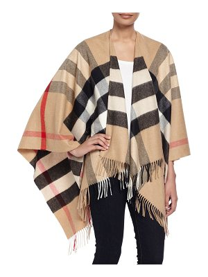 BURBERRY Collette Check Fringe-Trim Cape