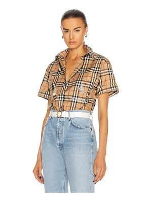 Burberry curlew short sleeve button down top