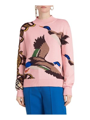 Burberry deckers intarsia duck cotton blend sweater