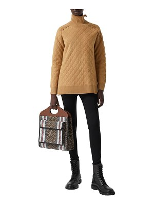Burberry Diamond Quilted Rib-Knit Wool Turtleneck Sweater