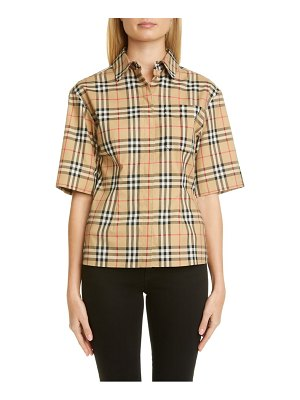 Burberry eleanora check stretch cotton camp shirt