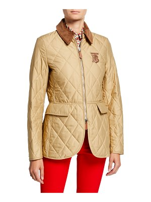 Burberry Equestrian Quilted Zip-Front Jacket