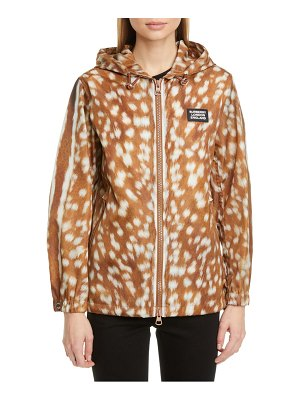 Burberry everton deer print hooded nylon jacket
