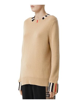Burberry Eyre Cashmere Check-Trim Sweater