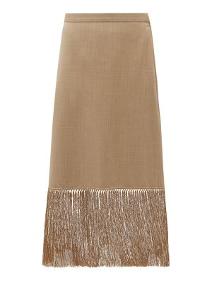 Burberry fringed wool-blend pencil skirt