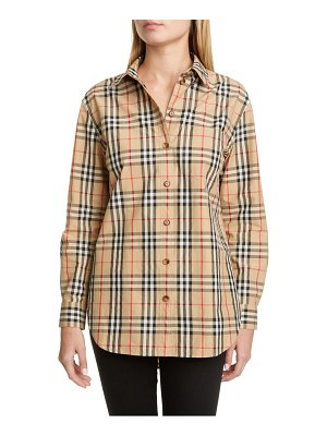 Burberry guan check cotton button-up shirt