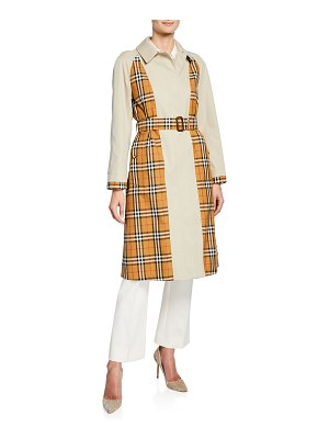Burberry Guiseley Check Gabardine Trench Coat w/ Belt