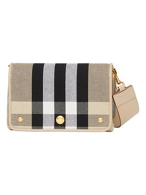 Burberry Hackberry Small Check Canvas Shoulder Bag