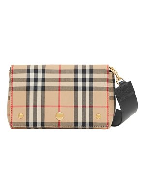 Burberry note vintage check & leather crossbody bag