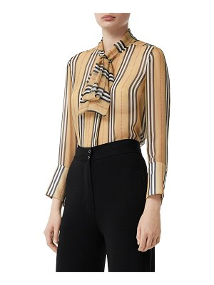 Burberry Icon striped sheer mulberry silk shirt