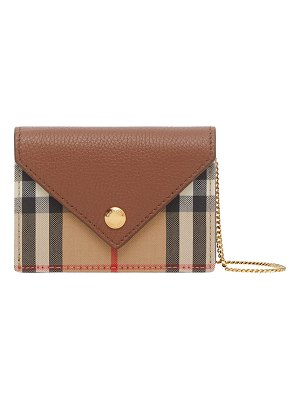 Burberry Jade Vintage Check & Leather Chain Crossbody Bag