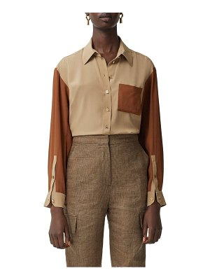 Burberry juliette logo button colorblock silk shirt